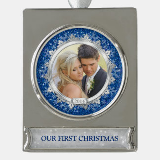 First Christmas Together Photo Blue Silver Silver Plated Banner Ornament
