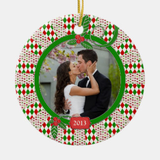 First Christmas Together Photo Unique Red Green Christmas Tree Ornaments