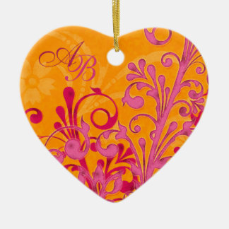 First Christmas Together Pink Orange Wedding Heart Ceramic Ornament
