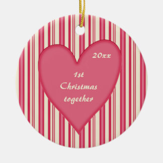First Christmas together Pink & Red Stripes Ceramic Ornament