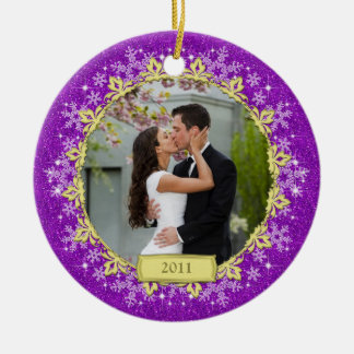 First Christmas Together Purple Snowflake Photo Ceramic Ornament