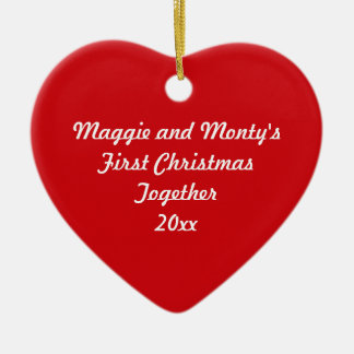 First Christmas Together ~ Red Heart Ceramic Ornament