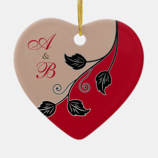 First Christmas Together Red Vine Wedding Heart Ceramic Ornament