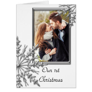 First Christmas Together Snowflakes on White Photo Card
