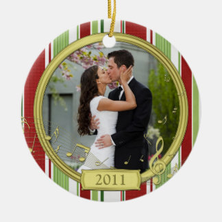 First Christmas Together Stripe Music Photo Ceramic Ornament