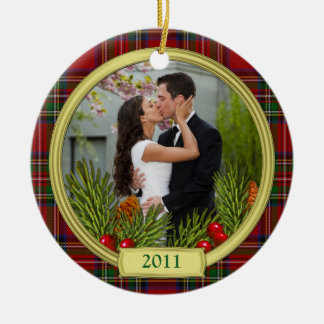 First Christmas Together Tartan Boughs Photo Ceramic Ornament