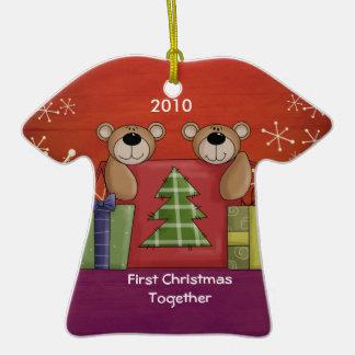 First Christmas Together Teddy Bear Custom Photo Double-Sided T-Shirt Ceramic Christmas Ornament