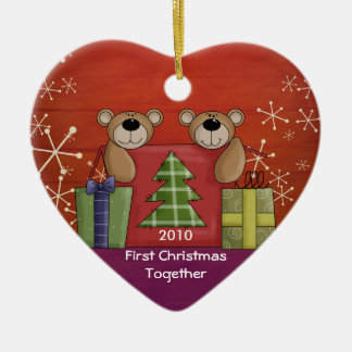 First Christmas Together Teddy Bear Custom Photo Double-Sided Heart Ceramic Christmas Ornament