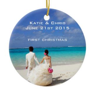 First Christmas Tropical beach Wedding Ceramic Ornament