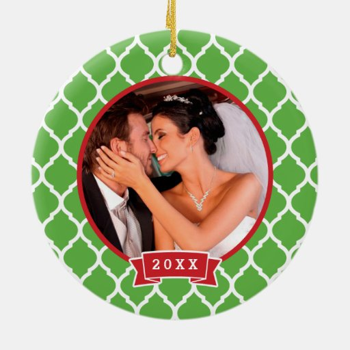 First Christmas Wedding Monogram Photo Ornament