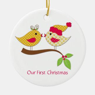 First Christmas Yellow Polka Dot Love Birds Ceramic Ornament