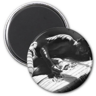 First Cigarette 2 Inch Round Magnet