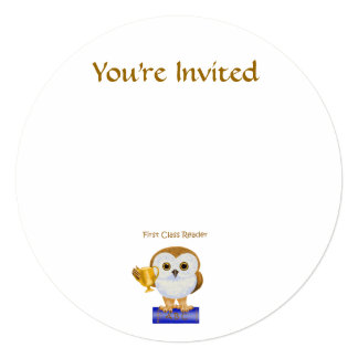 First Class Reader 5.25x5.25 Square Paper Invitation Card