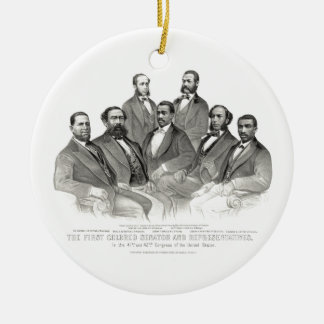 First Colored Senator and Representatives Double-Sided Ceramic Round Christmas Ornament
