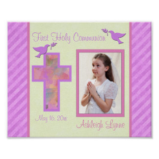 "First Communion 8""x10"" Photo Frame Insert - Girl Poster"