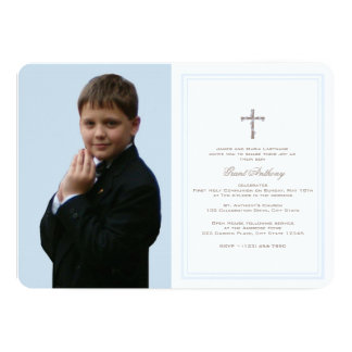 First Communion Baby Blue with Photo Card