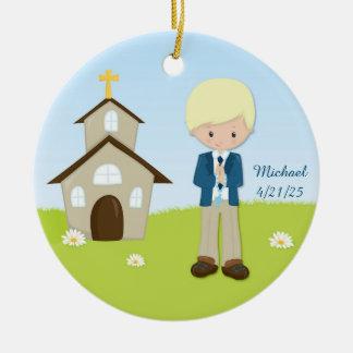 First Communion, Blonde Boy, Church Ceramic Ornament