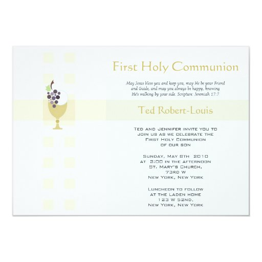 First Communion - Boy 5x7 Paper Invitation Card