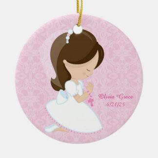 First Communion, Brunette Girl Ceramic Ornament