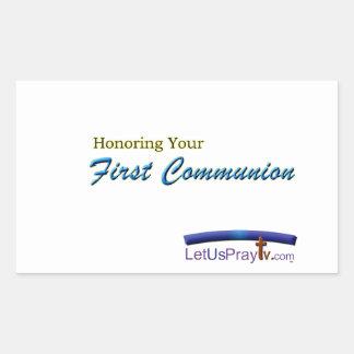 First Communion Celebration 2 fca3 Rectangular Sticker