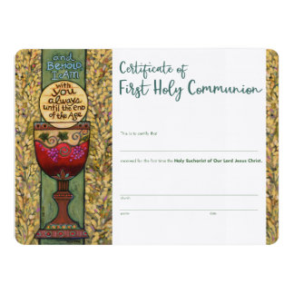 First Communion Certificate, custom fill-in Card