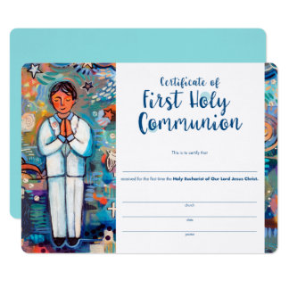 First Communion Certificate for Catholic Boy Card