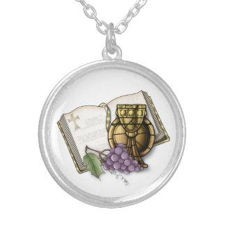First Communion Chalice, Bible, Grapes Pendants