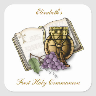 First Communion Chalice, Bible, Grapes Square Sticker