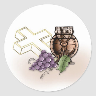 First Communion Chalice, Cross, Grapes Classic Round Sticker