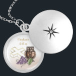 """First Communion Chalice, Cross, Grapes Locket Necklace<br><div class=""""desc"""">Commemorate a special First Holy Communion with this beautiful necklace design featuring gold colored chalice,  white cross with gold trim and grapes.  Personalize for a special Communion gift.</div>"""