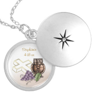 First Communion Chalice, Cross, Grapes Round Locket Necklace