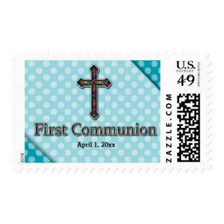 First Communion, Choose your background color Postage Stamps