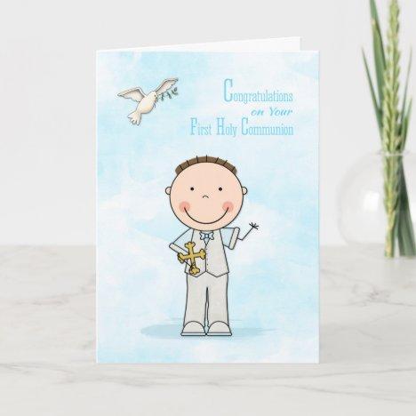 First Communion, Dark Hair Boy, Congratulations Card