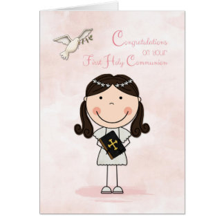 First Communion, Dark-haired Girl, Congratulations Card