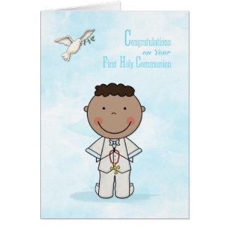 First Communion, Dark-skinned Boy, Congratulations Card