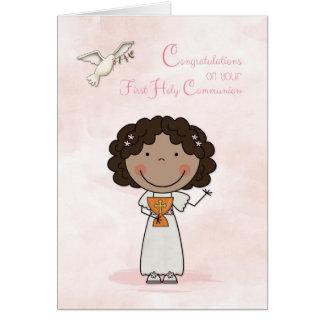 First Communion, Dark-skinned Girl, Congratulation Card