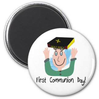 """First Communion Day~~""""Boy With Bible"""" 2 Inch Round Magnet"""