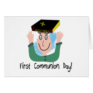 """First Communion Day~~""""Boy With Bible"""" Card"""