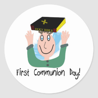 """First Communion Day~~""""Boy With Bible"""" Classic Round Sticker"""