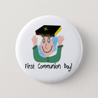 "First Communion Day~~""Boy With Bible"" Pinback Button"