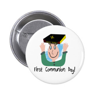 """First Communion Day~~""""Boy With Bible"""" Pinback Button"""