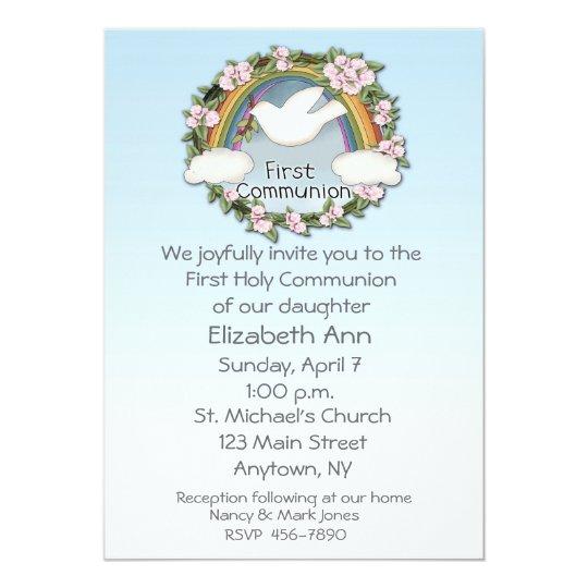 First Communion Dove Rainbow Card