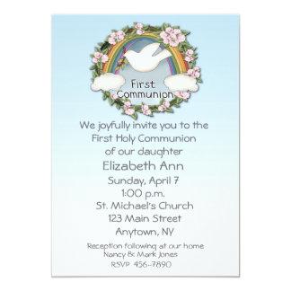 First Communion Dove Rainbow Custom Announcements
