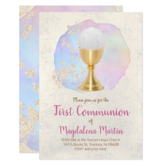 first communion  FAUX gold foil and watercolor Invitation