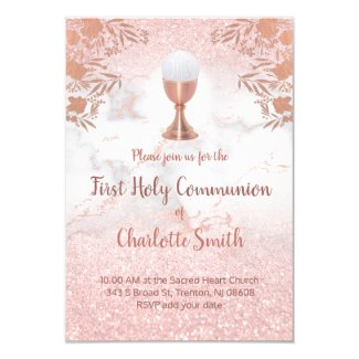 first communion faux pink glitter and rose gold invitation