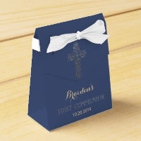 First Communion Favor Box, Gold Cross Favor Box