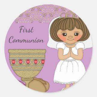 First Communion Girl in Purple Classic Round Sticker