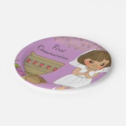 First Communion Girl in Purple Paper Plate ...  sc 1 st  Zazzle & Catholic Sacrament Plates | Zazzle