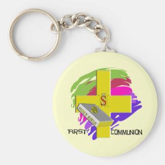 First Communion GOLD CROSS Design Keychain