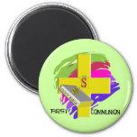 First Communion GOLD CROSS Design Refrigerator Magnets